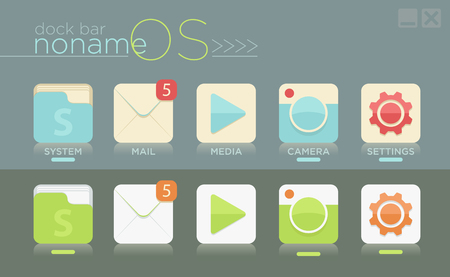 Vector template of simple dock bar for noname OS