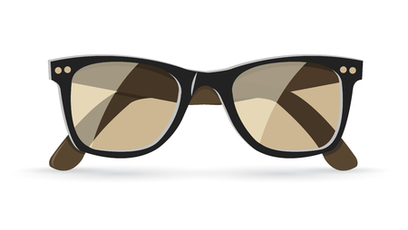 gafas de sol: Ilustraci�n vectorial de cl�sicas gafas de sol marrones, aislados en fondo blanco, eps10