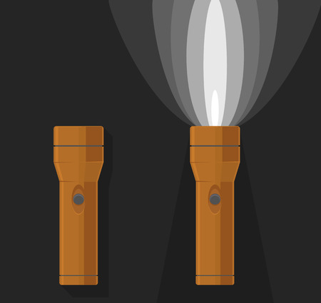 flashlights: Vector illustration of two orange flashlights, on and off, on dark grey background