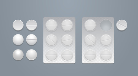 separately: Vector round pills separately and in blister packs, eps10