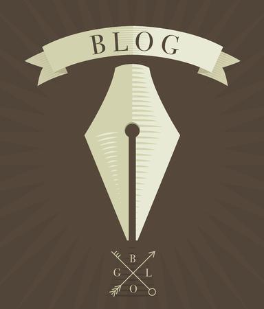blog icon: Vector engraved fountain pen icon, blog concept in vintage style