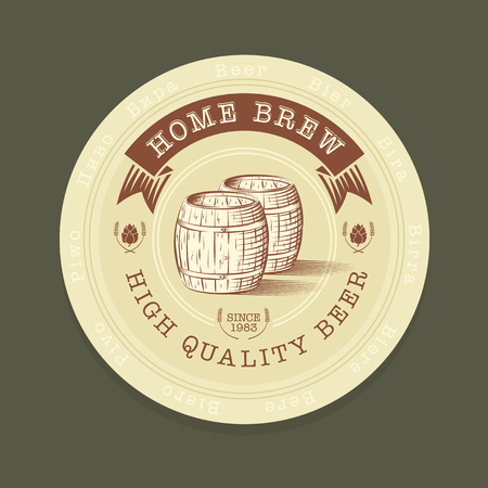 brew: Vector illustration of beer tag in engraved style for advertisement Illustration