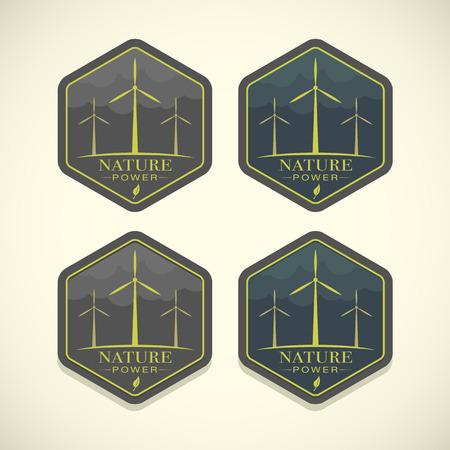 windfarm: Vector eco icone di turbine eoliche, il concetto di energia della natura Vettoriali