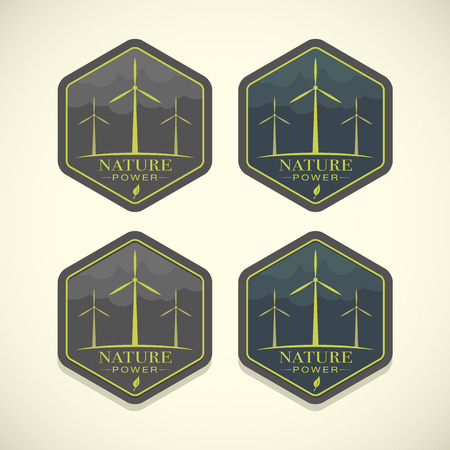 windfarm: Vector eco icons of wind turbines, nature power concept