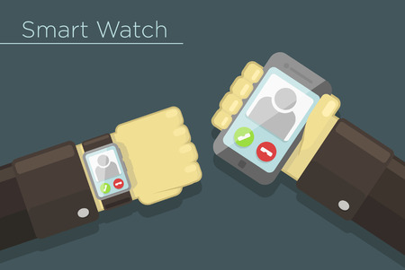 Vector illustration of smart watch and smartphone synchronization concept Vector