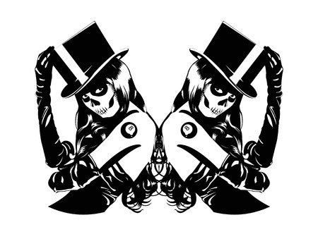 goth: Vector illustration of Sugar Skull girls with billiard ball lucky tattoo