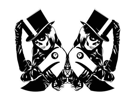 Vector illustration of Sugar Skull girls with billiard ball lucky tattoo