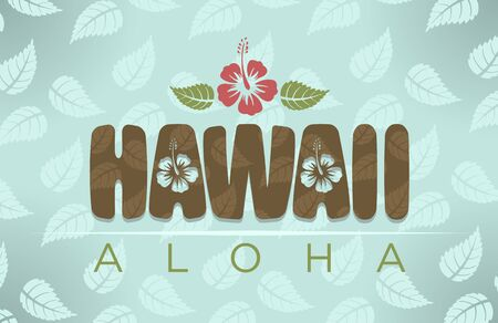 hawaii: Vector illustration of Hawaii and aloha word with tropical hibiscus flowers