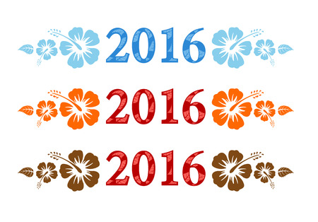 fiori di ibisco: Vector colorata aloha 2016 il testo con ibisco, isolato su sfondo bianco
