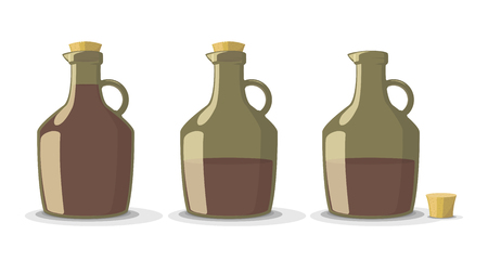 full: Vector set of full and empty wine bottles in vintage style, isolated on white background Illustration