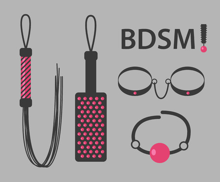 sex symbol: Vector illustration of kinky BDSM toys on gray background