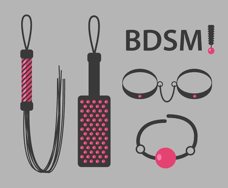 adults sex: Vector illustration of kinky BDSM toys on gray background