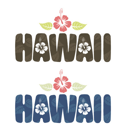 Vector illustration of Hawaii word with tropical hibiscus flowers in vintage colors Çizim