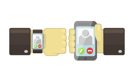 sincronizacion: Vector reloj inteligente y el tel�fono inteligente concepto de sincronizaci�n