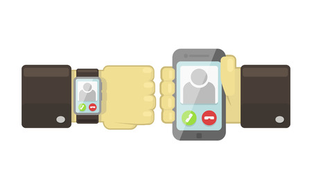 synchronization: Vector smart watch and smartphone synchronization concept