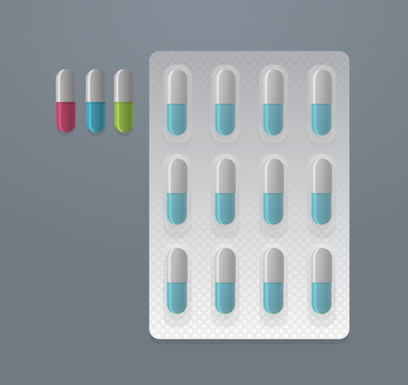 a tablet blister: Vector set of colorful pills and blister pack Illustration