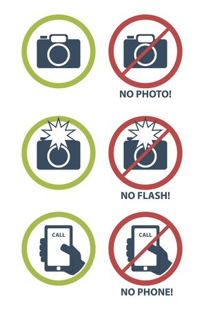 sign not to talk by phone: Vector set of prohibition icons, no camera, no flash, no phone Illustration
