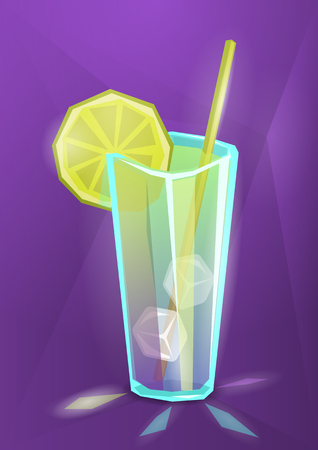 Vector illustration of summer cocktail, lemonade or juice on purple background