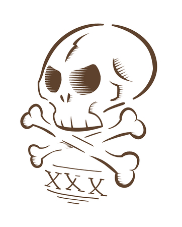 Vector illustration of aggressive skull and bones, isolated on white background