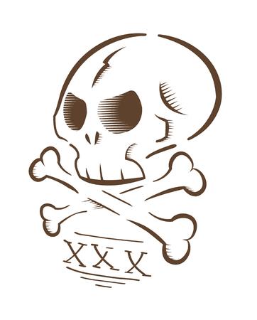 gravure: Vector illustration of aggressive skull and bones, isolated on white background