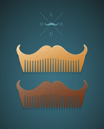 set of men hair styling: Vector illustration of hipster style comb in shape of mustaches