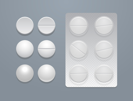 white pills: Vector white round pills separately and in blister pack, eps10