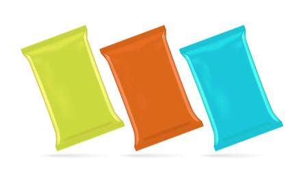 plastic wrap: Vector illustration of foil bag for potato chips, coffee, sugar, snack, junk food, eps10