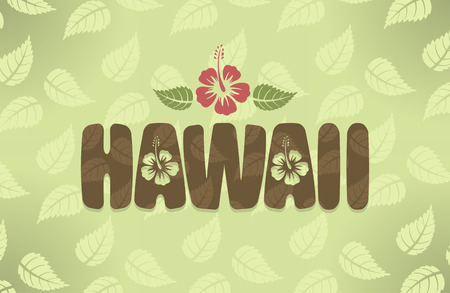 vintage colors: Vector illustration of Hawaii with hibiscus flowers in vintage colors