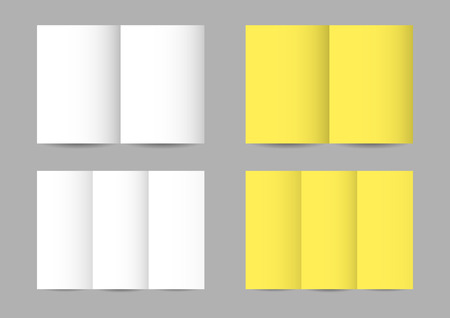 leaflets: Vector folded paper leaflets in white and yellow colors
