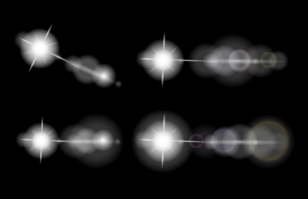 Vector set of lens flares, stars, glowing elements, isolated on black background