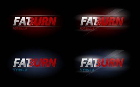 gordos: Vector Fat Burn texto para la dieta o nutrición deportiva concepto Vectores
