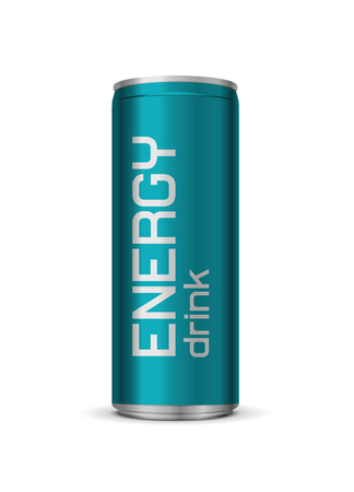 Vector bright energy drink can, isolated on white background Illustration