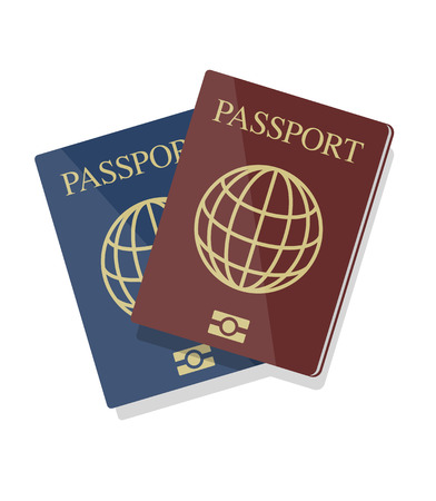 passport background: Vector blue and red biometric passports with globe