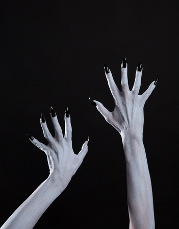 bodyart: White ghost or witch hands with sharp black nails, body art, Halloween theme