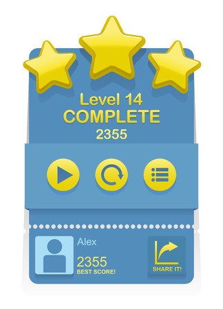 complete: Vector Level Complete design element for game interface