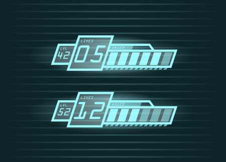 Vector set of life and power progress bars for casual games interface, eps10 Illustration