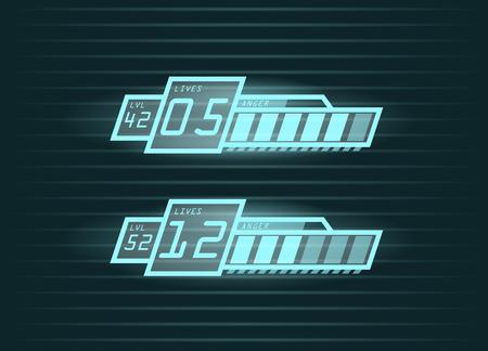 Vector set de vie et de progrès de la puissance des bars pour les jeux occasionnels interface, eps10