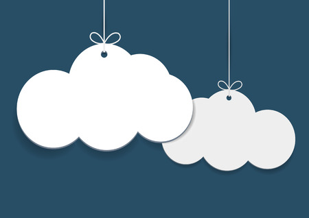 Vector simple shopping tags in shape of clouds on blue background Illustration