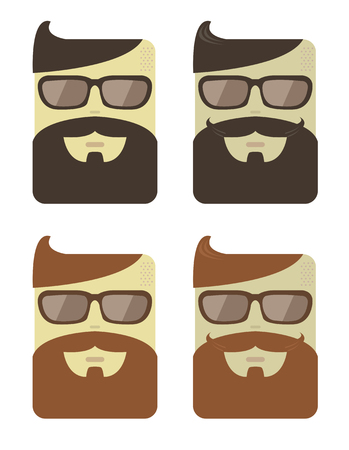 mustaches: Vector set of cartoon male faces with hipster style haircut, beards and moustaches