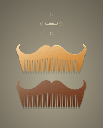 set of men hair styling: Vector trendy comb in shape of mustaches, hipster style