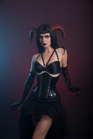 sexy girl nude: Sexy demon girl with horns, Halloween theme