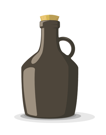 food poison: Vector illustration of dark bottle with cork, isolated on white background