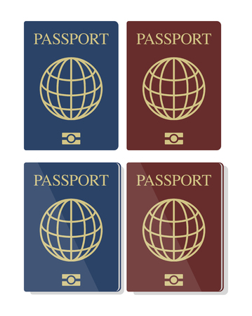 biometric: Vector set of blue and red biometric passports with globe, eps10, isolated on white background Illustration