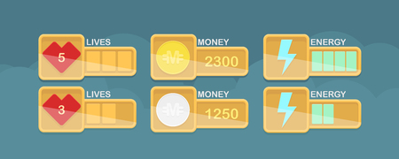interface design: Vector design elements for casual game interface with life, money and power stats, eps10 Illustration
