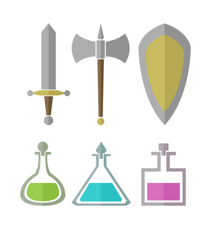 play poison: Vector set of simple elements for RPG games, weapon and vials