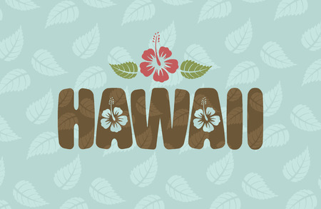 hawaii islands: Vector Hawaii word with hibiscus flowers and leaves on blue vintage background
