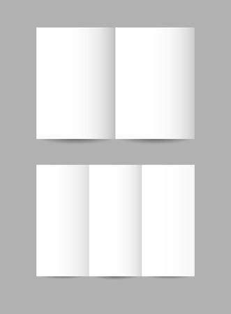 leaflets: Vector simple folded paper leaflets in white color