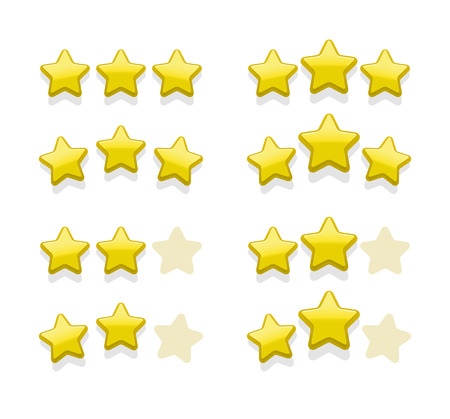 Vector sets of simple yellow stars for rank, favorites, award Illustration