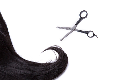 strand of hair: Long black shiny hair strand with professional scissors, isolated on white background Stock Photo