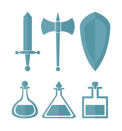 one color: Vector set of simple one color design elements for RPG games Illustration